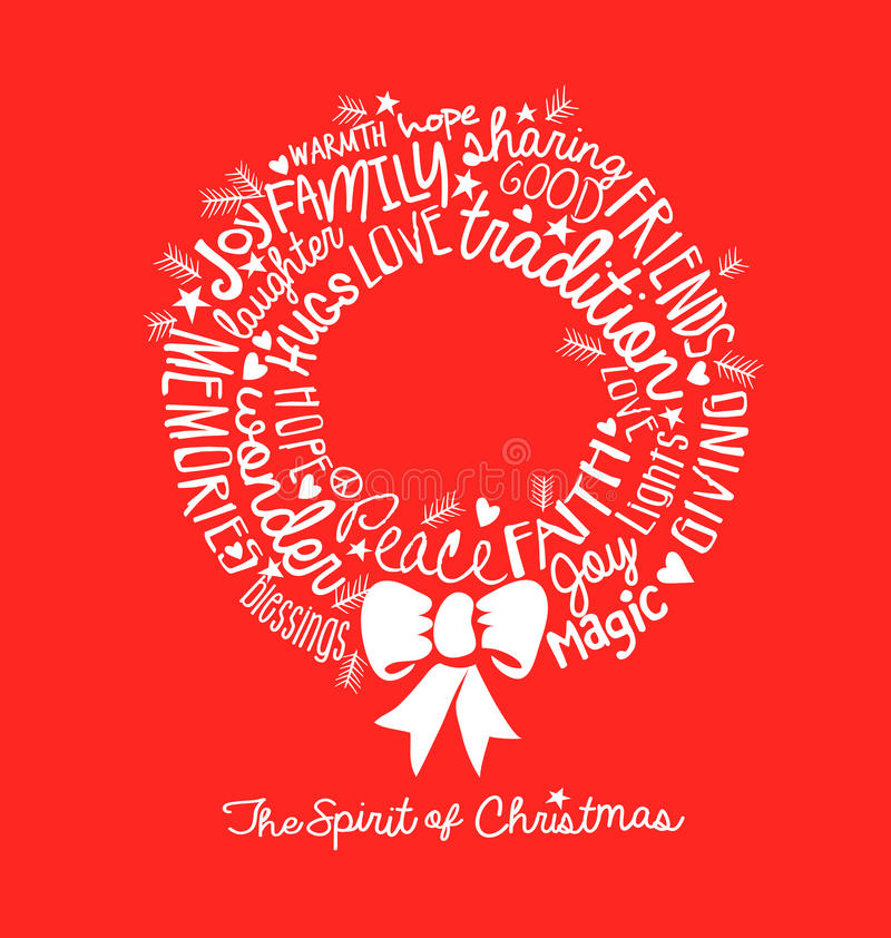 Handwritten Christmas Wreath Card Word Cloud Design Stock Vector
