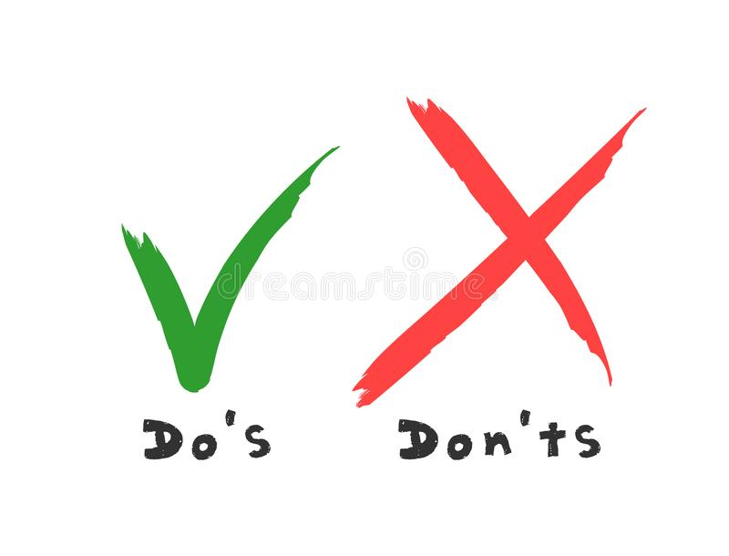 Handwritten Do and Dont check tick mark and red cross checkbox icons lettering design isolated on white background. Vector Do`s and Don`ts checklist. Poor or vector illustration