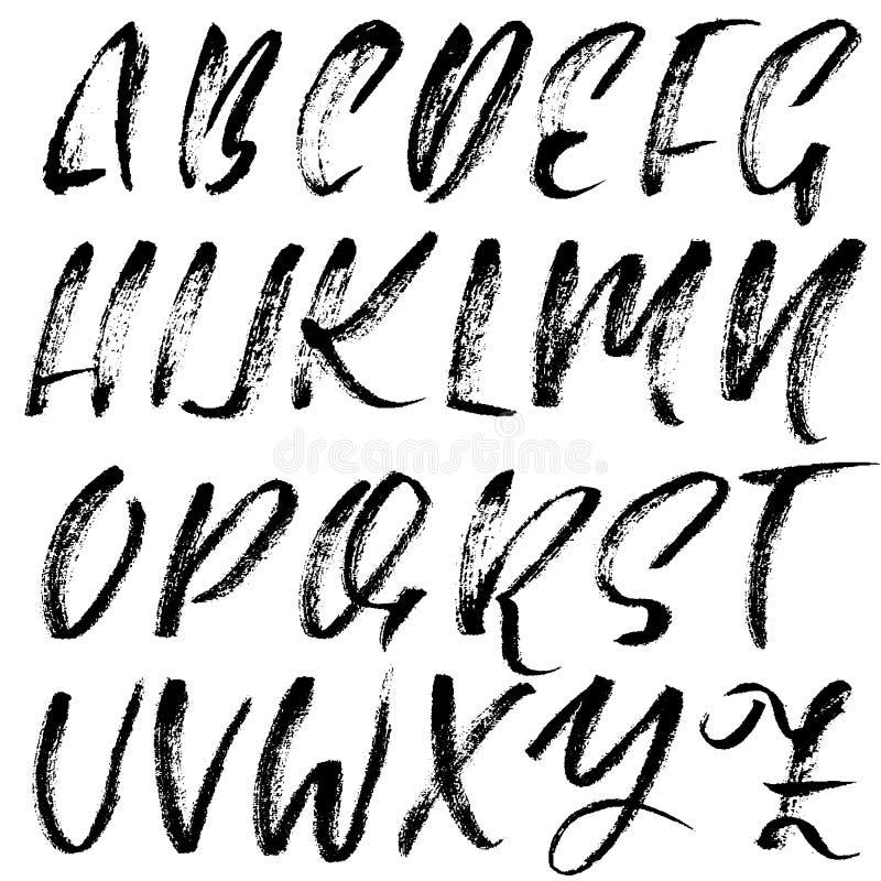 Download Handwritten Dry Brush Font Modern Lettering Grunge Style Alphabet Vector Illustration