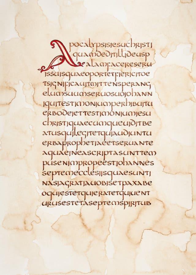 Handwritten excerpt from Bible. Calligraphic handwritten excerpt from Bible on a grunge paper vector illustration