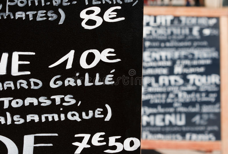 Handwritten French menu. Selective focus royalty free stock photos