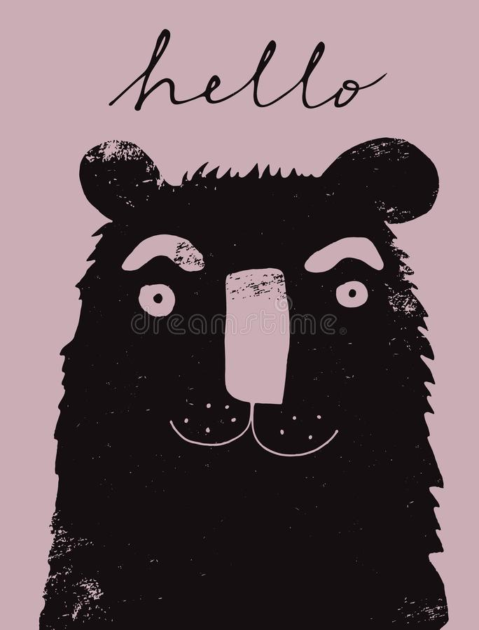 Funny Grunge Hand Drawn Bear Vector Illustration. stock image