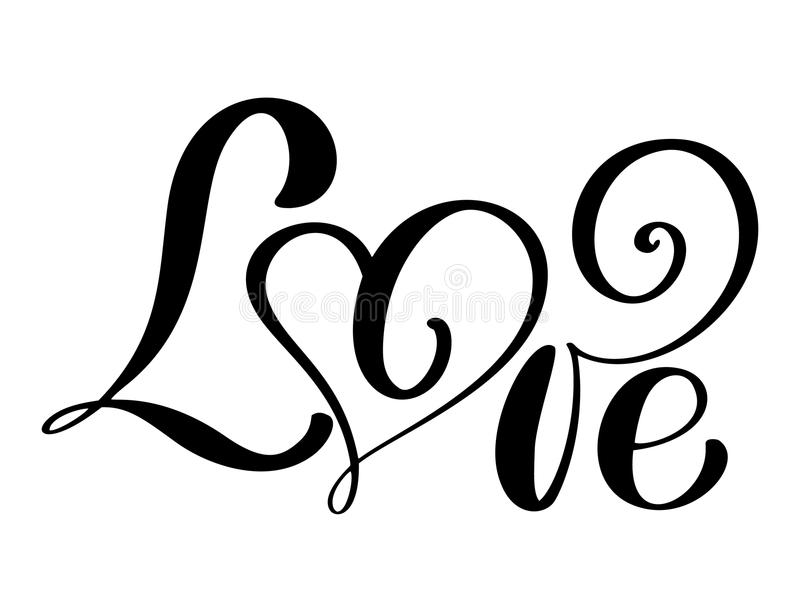 Handwritten inscription LOVE Happy Valentines day card, romantic quote for design greeting cards, tattoo, holiday. Invitations, photo overlays, t-shirt print vector illustration
