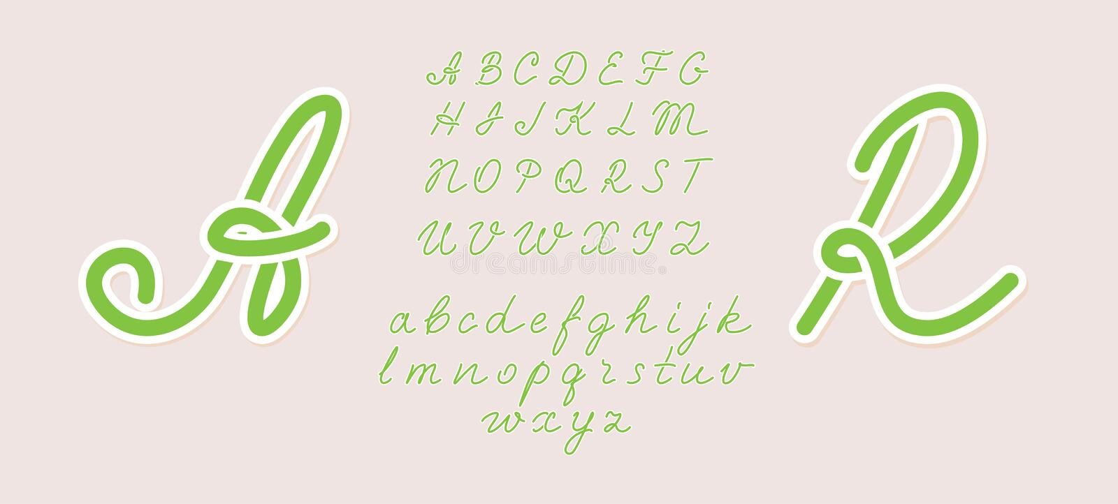 Handwritten italic light font. Uppercase and lowercase. Hand drawn pen style modern calligraphy cursive typeface. Vector. Type set. Green summer style. Any royalty free illustration