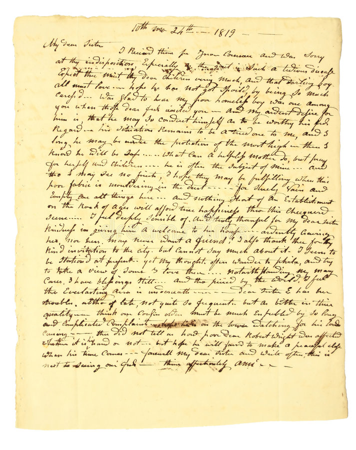Handwritten Letter of 1819. This personal handwritten letter is dated October 24, 1819 royalty free stock photos