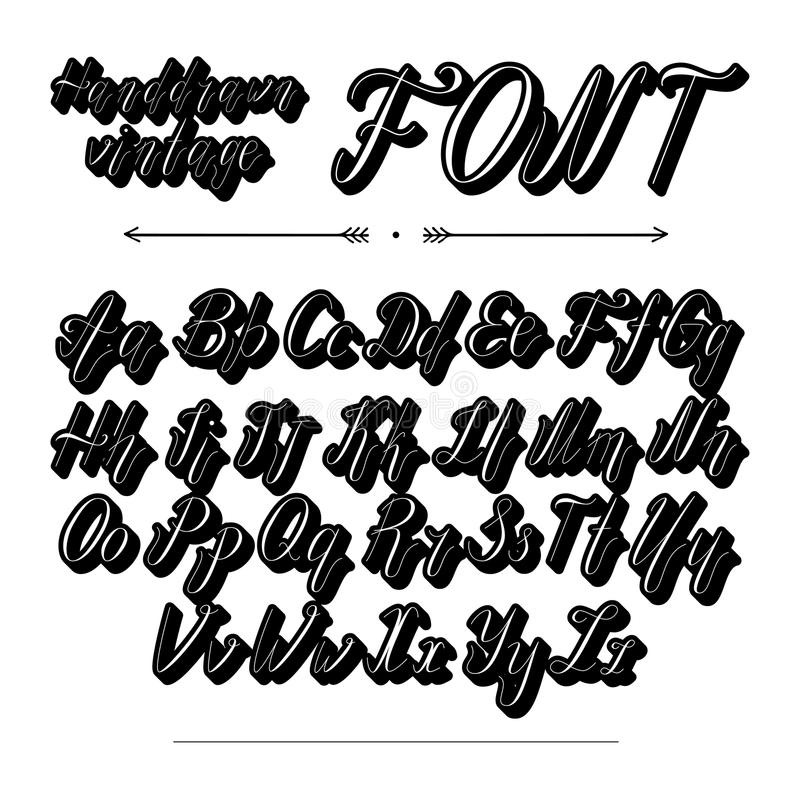 Download Handwritten Lettering Font Alphabet Stock Vector