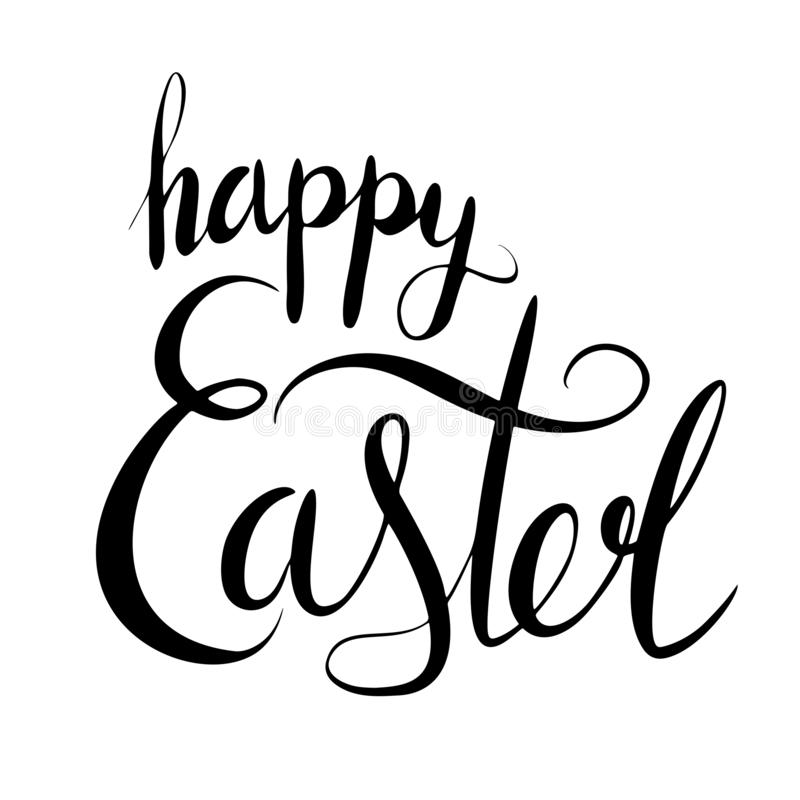 Handwritten Lettering happy Easter. Brush calligraphy. The object is separate from the background. Vector element for cards, t-shirt printing and your design stock illustration