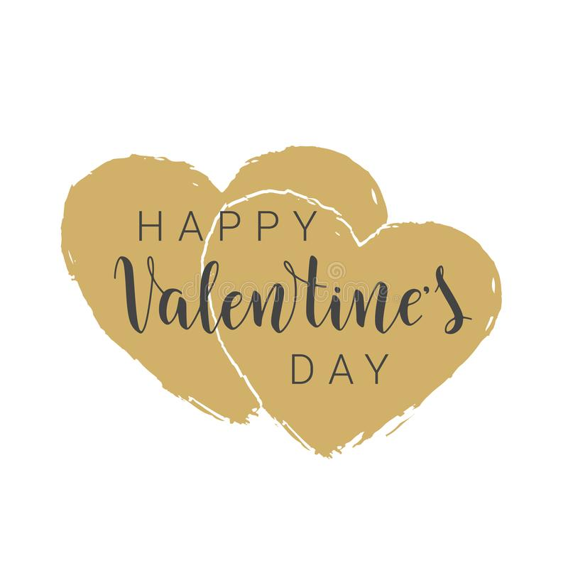 Handwritten lettering of Happy Valentine`s Day on white background. Vector illustration. Handwritten lettering of Happy Valentine`s Day. Objects isolated on stock illustration