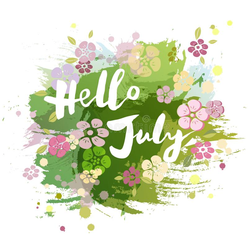 Handwritten Lettering Hello July Isolated On Watercolor Painting Imitation  Background. Lettering For Warm Season Card, Art Shop, Logo, Badge,  Postcard, ...