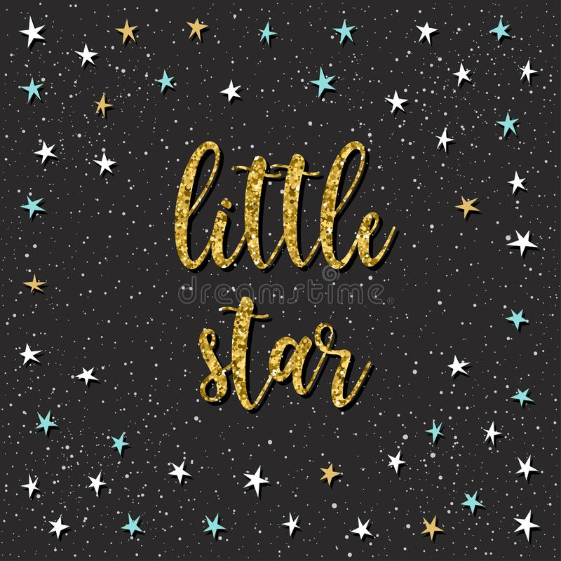 Handwritten lettering isolated on black. Handmade little star quote and applique star stock illustration