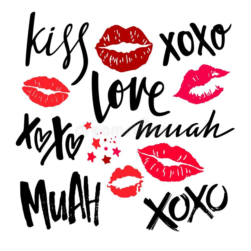 Handwritten Lettering with Red Woman Lips. Vector Lipstick Kisses. XOXO, Love, Kiss and Muah Phrases on Valentines Day. stock illustration