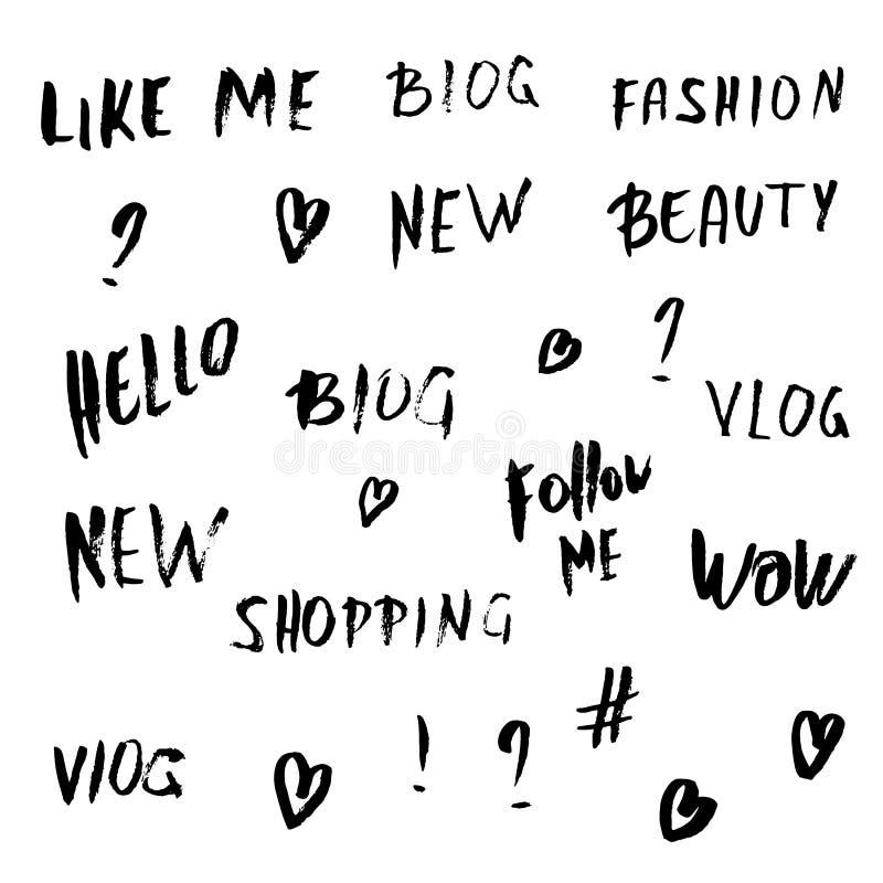 Handwritten lettering for social media network. Set of grunge handwritten lettering and signs for social media network. Vector illustration vector illustration