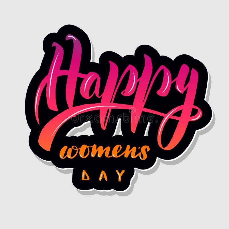 Handwritten lettering typography happy women`s vector illustration