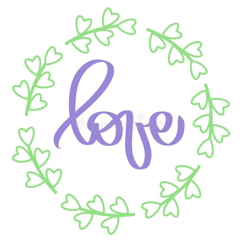 Handwritten lettering. Violet sign Love in circle frame. Green frame round. Wedding card. Light illustration for lovely wedding. Invitation. Purple woman slogan royalty free illustration