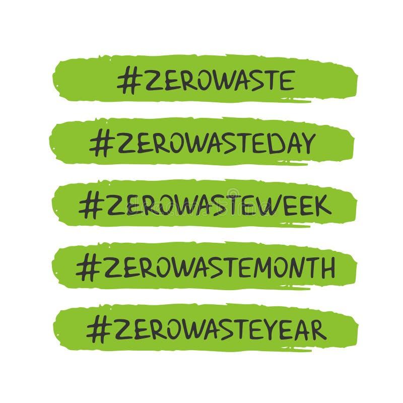 Handwritten lettering of Zero Waste on white background. stock illustration