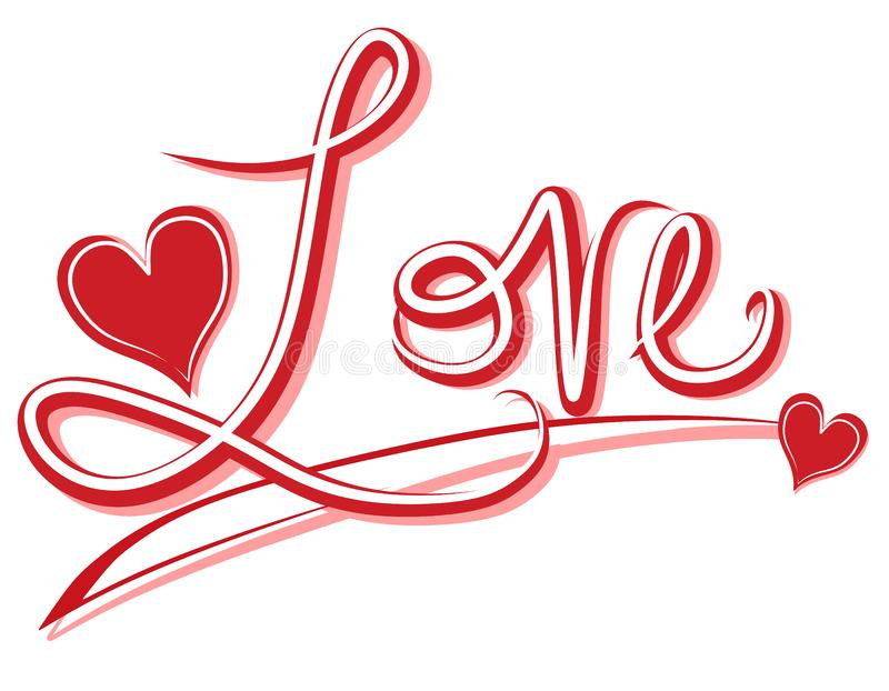 Handwritten Love Banner or Logo stock photo
