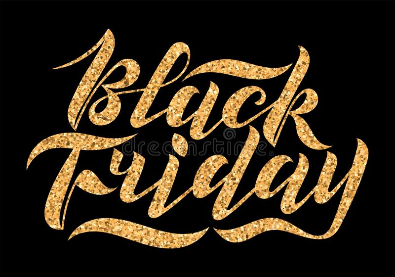 Handwritten modern brush lettering with gold glitter texture. Black Friday on black background. Cool logo for banner, flyer, label. Poster royalty free stock photo