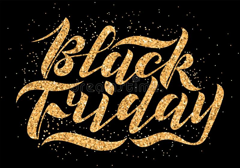 Handwritten modern brush lettering with gold glitter texture. Black Friday on black background. Cool logo for banner, flyer, label. Poster royalty free stock photography