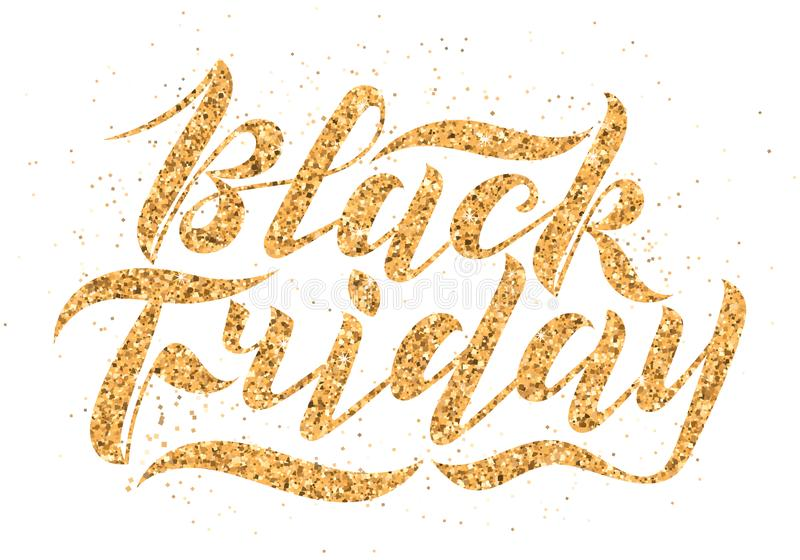 Handwritten modern brush lettering with gold glitter texture. Black Friday isolated on white background. Cool logo for banner,. Flyer, label, poster royalty free stock photo