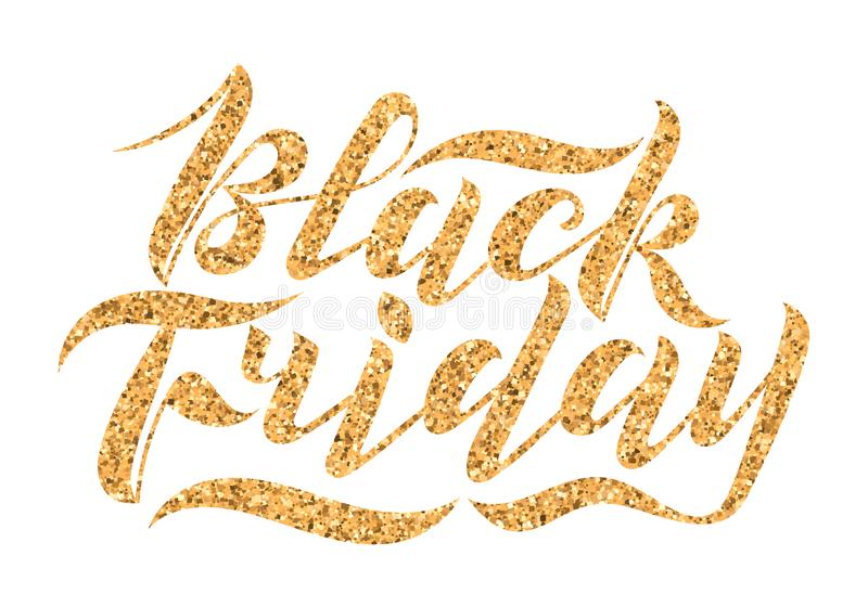 Handwritten modern brush lettering with gold glitter texture. Black Friday isolated on white background. Cool logo for banner,. Flyer, label, poster stock photography