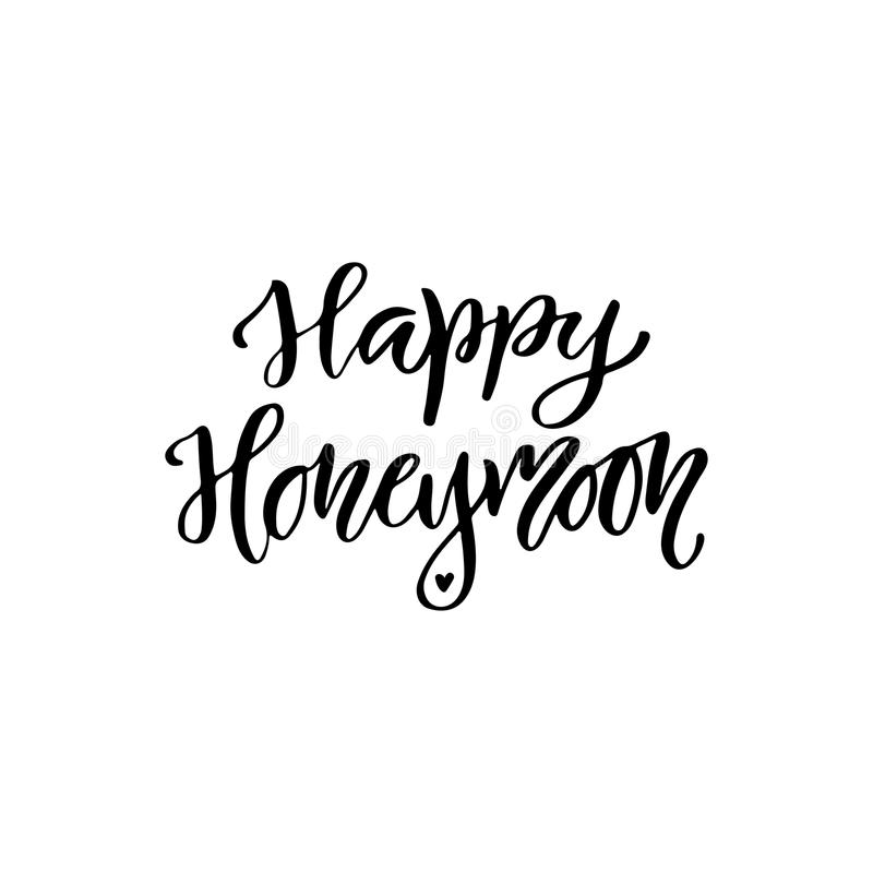 Download Handwritten Modern Calligraphy Vector Lettering Design Inspiration Phrase Happy Honeymoon Stock