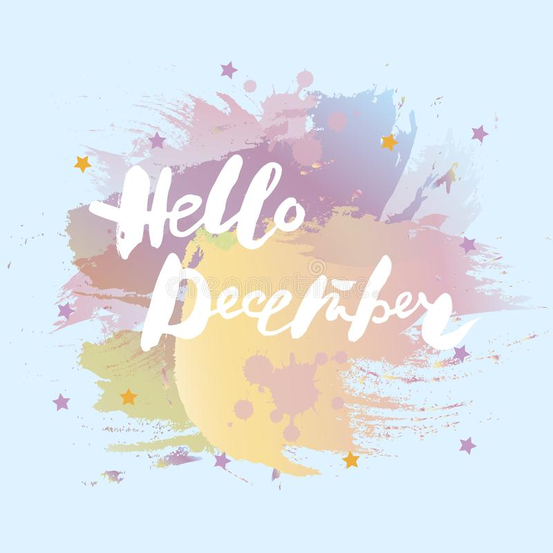 Handwritten modern lettering Hello December royalty free illustration