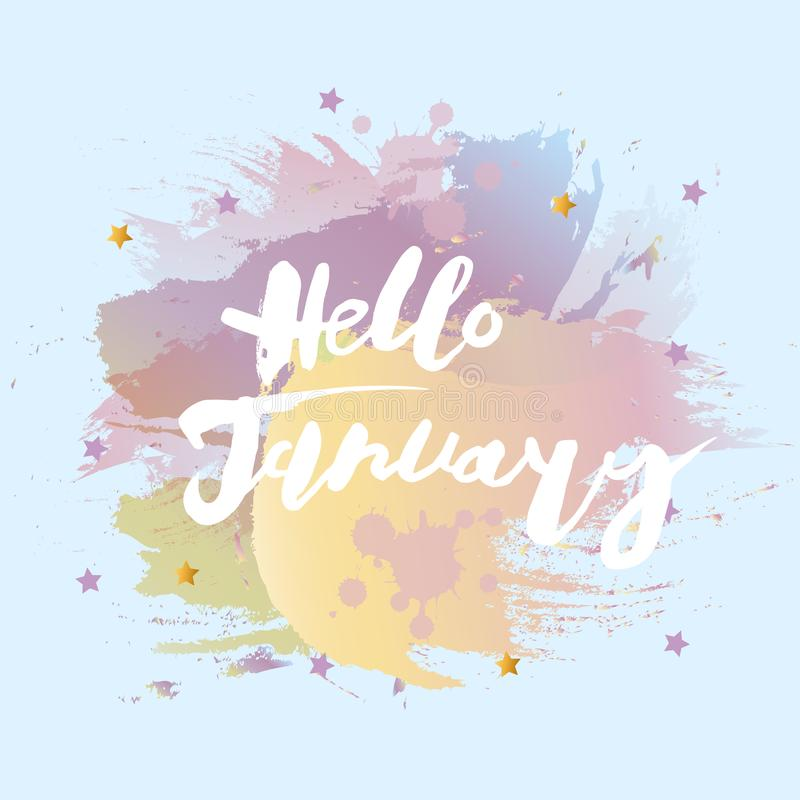 Handwritten modern lettering Hello January royalty free illustration