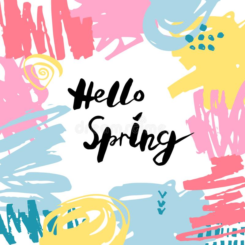 Handwritten modern lettering Hello Spring royalty free illustration