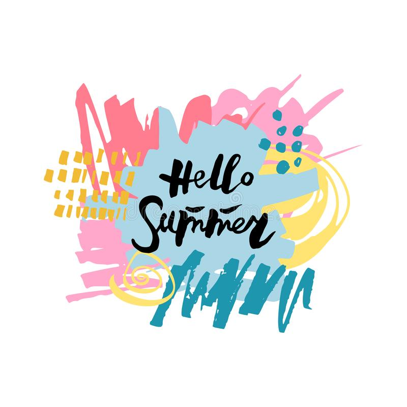 Handwritten modern lettering Hello Summer stock illustration