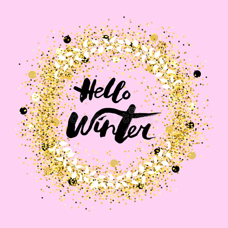 Handwritten modern lettering Hello Winter. royalty free illustration
