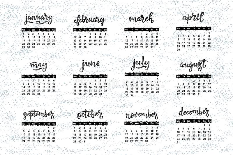 Download Handwritten Names Of Months December, January, February, Stock Vector - Illustration of monthly, calendar: 105662472