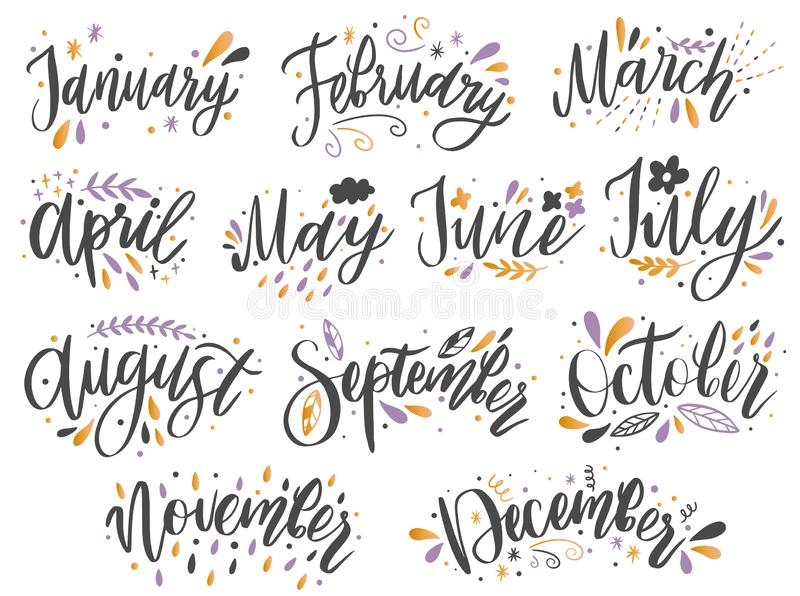 Handwritten names of months: December, January, February, March, April, May, June, July, August,September, October ,November royalty free illustration