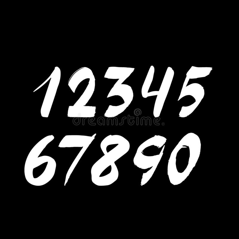 Handwritten numbers isolated on background. Hand drawn brush stroke fonts stock photo