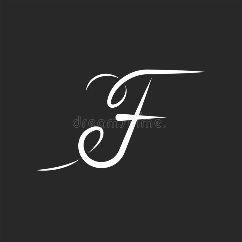 Free Handwritten Ornate F Letter Thin Monogram Initial For Business Card, Feminine Sophisticated Emblem For A Boutique Or Beauty Salon Royalty Free Stock Photo - 173564705