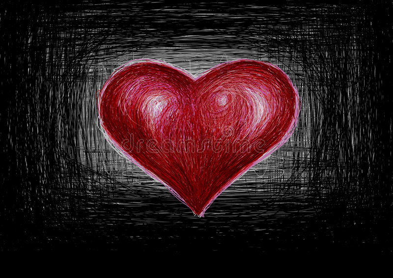 Handwritten red heart royalty free illustration