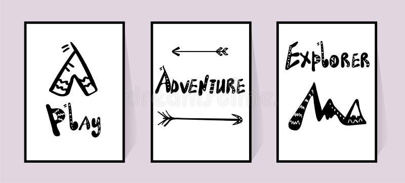 Handwritten Scandinavian style inscriptions Play, Adventure, Explorer and wigwam, Arrow, mountains. Doodle text Black stock illustration