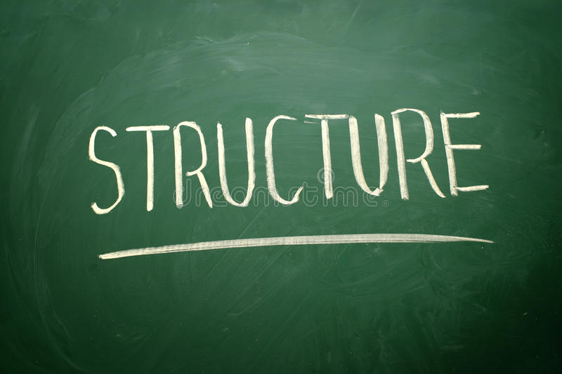 Handwritten Structure word. With white chalk on a blackboard royalty free stock images