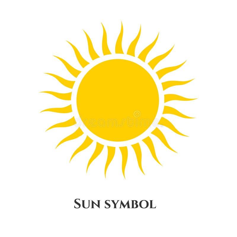 Handwritten sun icon symbol. Vector illustration for design. Yellow sun icon symbol isolated on white royalty free illustration