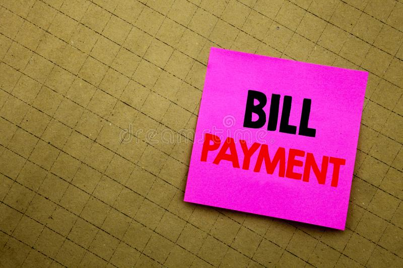 Handwritten text caption showing Bill Payment. Business concept writing for Billing Pay Costs written on sticky note paper on the. Handwritten text caption royalty free stock image