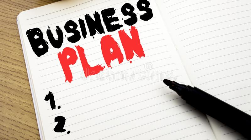 Handwritten text caption showing Business Plan Planning. Business concept writing for Preparation Project Strategy written on note. Handwritten text caption stock photo
