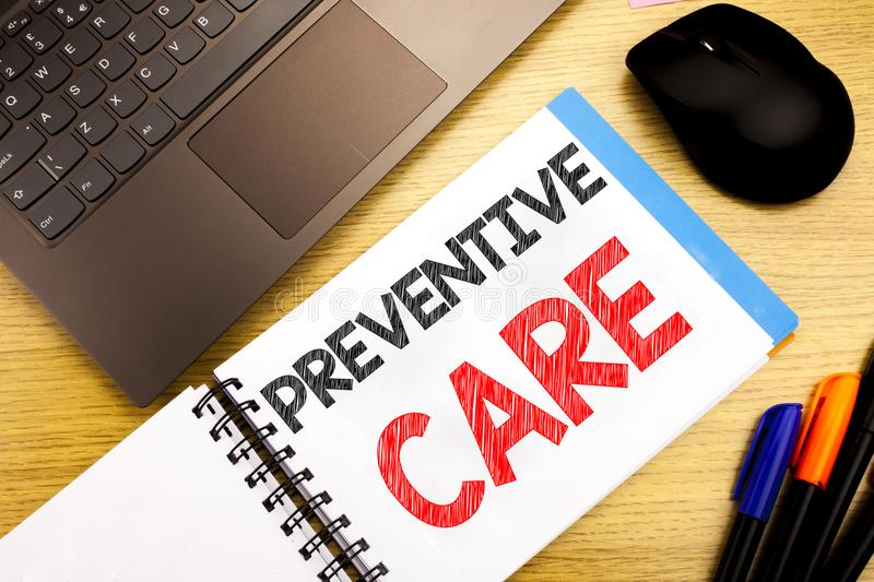 Handwritten text caption showing Preventive Care. Business concept writing for Health Medicine Care written on notepad with copy s. Handwritten text caption stock images