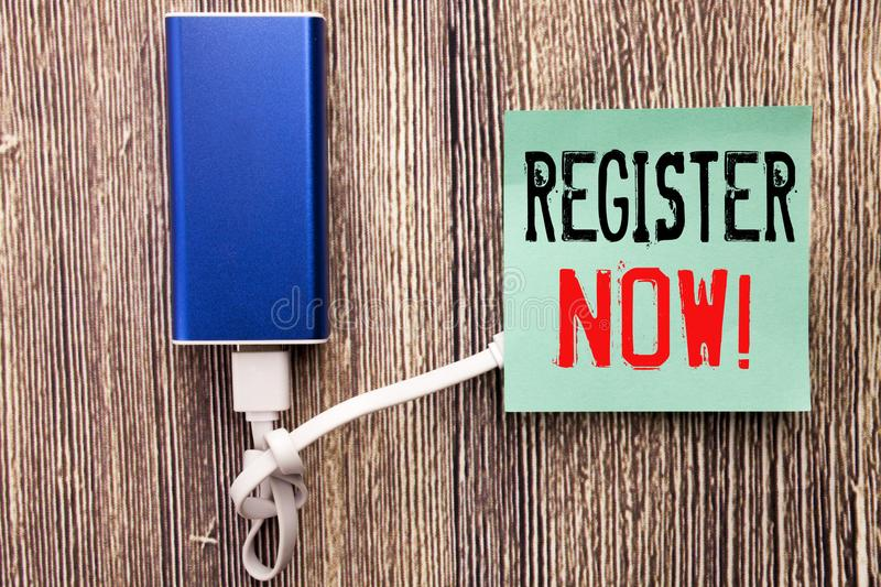 Handwritten text caption showing Register Now. Business concept writing for Join for Membership written on sticky note with copy s royalty free stock image