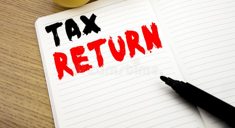 Handwritten text caption showing Tax Return. Business concept writing for Accounting Money Return written on notebook with copy sp. Handwritten text caption royalty free stock photos