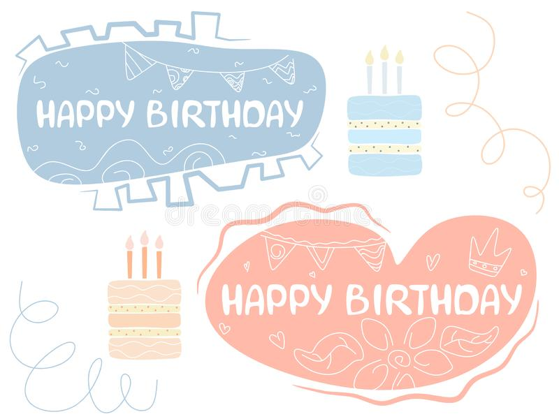 Handwritten text Happy Birthday in a text bubble with drawings, children's illustration, typography, decorative set with element royalty free illustration