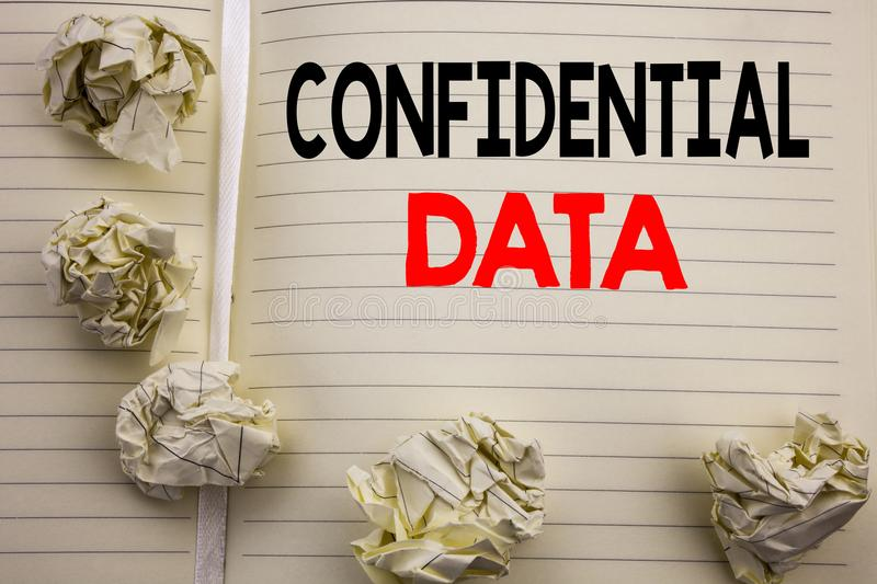 Handwritten text showing Confidential Data. Business concept writing for Secret Protection Written on notepad note paper, white ba. Handwritten text showing royalty free stock image
