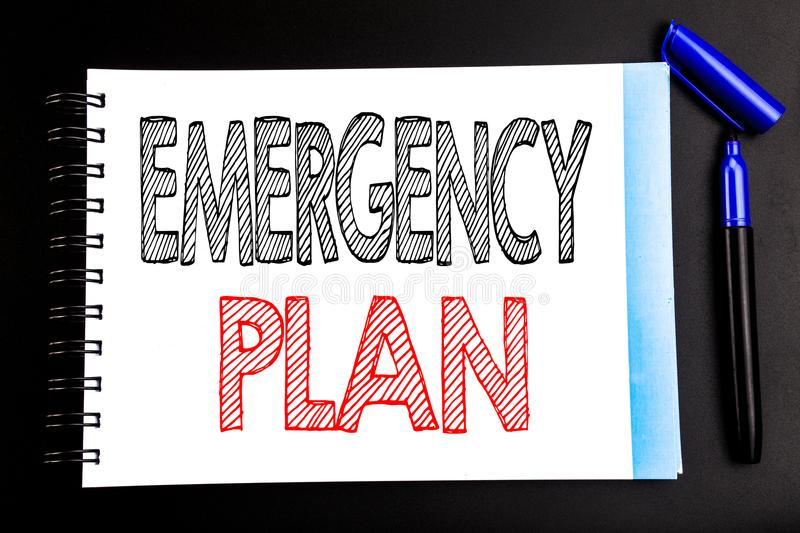 Handwritten text showing Emergency Plan. Business concept writing for Disaster Protection Written on notepad note paper, black bac. Handwritten text showing stock image