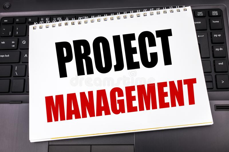 Handwritten text showing Project Management. Business concept writing for Strategy Plan Goals written on notepad note paper on the royalty free stock photography