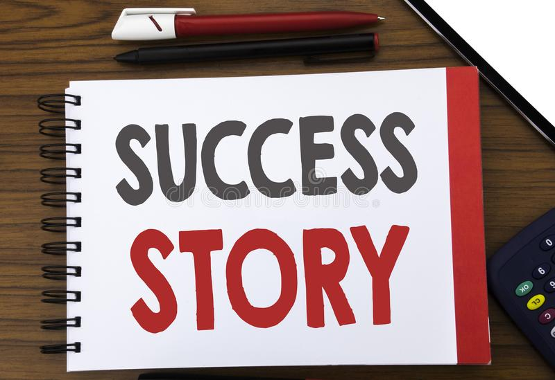 Handwritten text showing Success Story. Business concept writing for Inspiration Motivation Written on notepad note paper, wooden. Handwritten text showing royalty free stock image