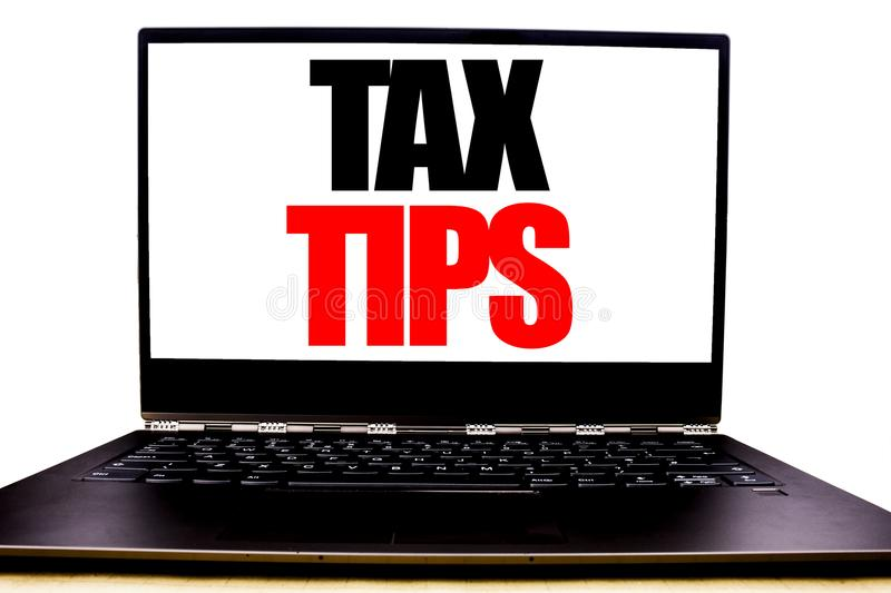 Handwritten text showing Tax Tips. Business concept writing for Tip Forn Taxes Written on monitor front screen, white background w. Ith space view royalty free stock photo