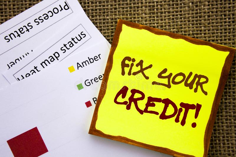 Handwritten text sign showing Fix Your Credit. Business concept for Bad Score Rating Avice Fix Improvement Repair written on Stick. Handwritten text sign showing stock illustration